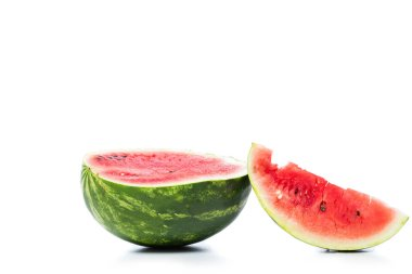 green fresh watermelon isolated on white