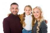 Fotografie glückliche Familie umarmt mit Tochter, isoliert auf weiss