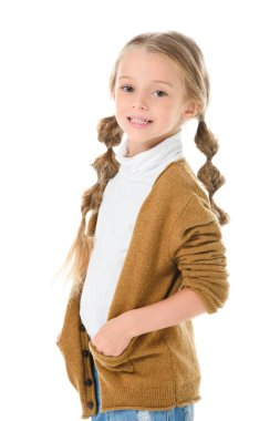 Smiling child with braids posing in autumn outfit, isolated on white stock vector