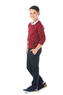 smiling boy posing isolated on white