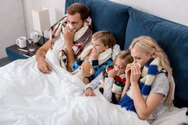 high angle view of sick young family blowing noses with napkins together while lying in bed