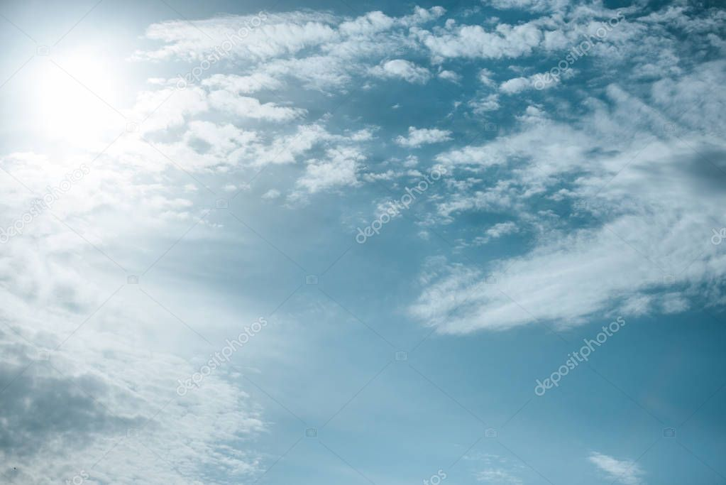 beautiful white clouds with sunlight at blue sky