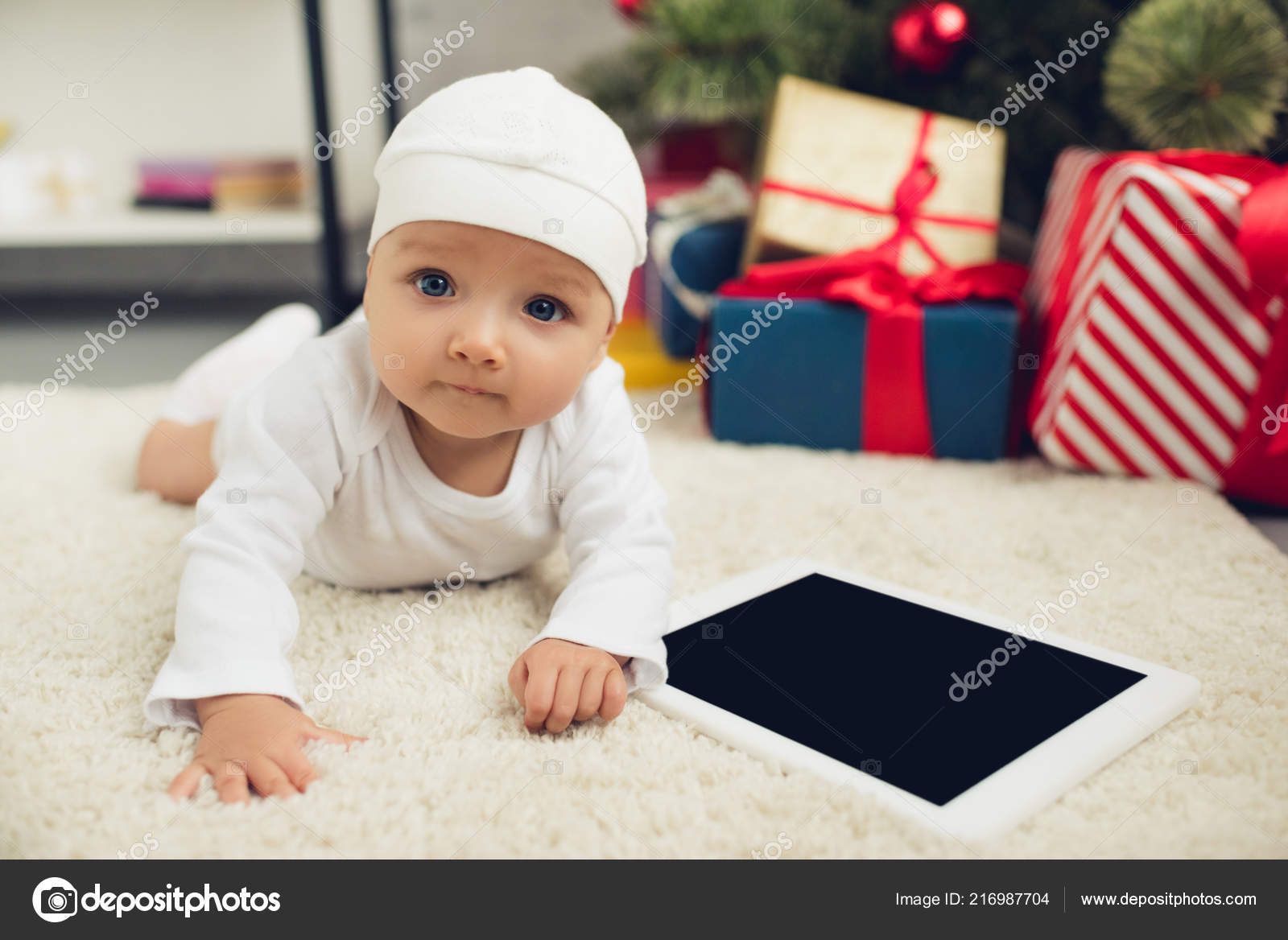 Cute Little Baby Tablet Lying Floor Christmas Gifts Blurred ...