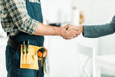 cropped image of plumber and client shaking hands in kitchen