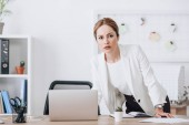 businesswoman in formal wear working with diary and laptop at workplace