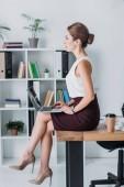 Executive komoly üzletasszony használ laptop, tábla hivatalban ülve