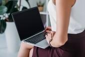 Fotografia vista potata della donna di affari usando il portatile con lo schermo in bianco