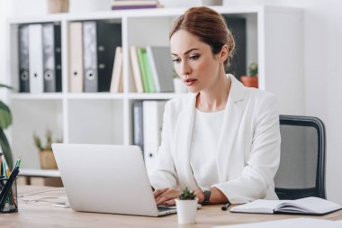 serious professional businesswoman in formal wear working with laptop in office