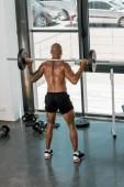 zadní pohled na atletické mladíka shirtless zvedání činka v posilovně