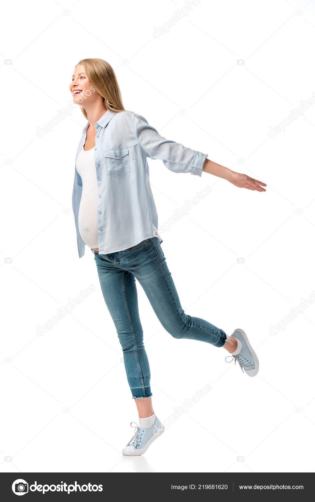 0eebd94aae Feliz Bella Mujer Embarazada Camisa Pantalones Vaqueros Aislados Blanco —  Foto de Stock
