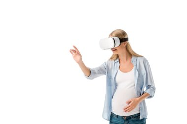 Smiling pregnant woman in vr headset gesturing with hand isolated on white stock vector