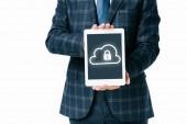 oříznuté záběr podnikatel zobrazeno tablet s cloud a zámek kybernetické bezpečnosti podepsat na obrazovce izolované na bílém