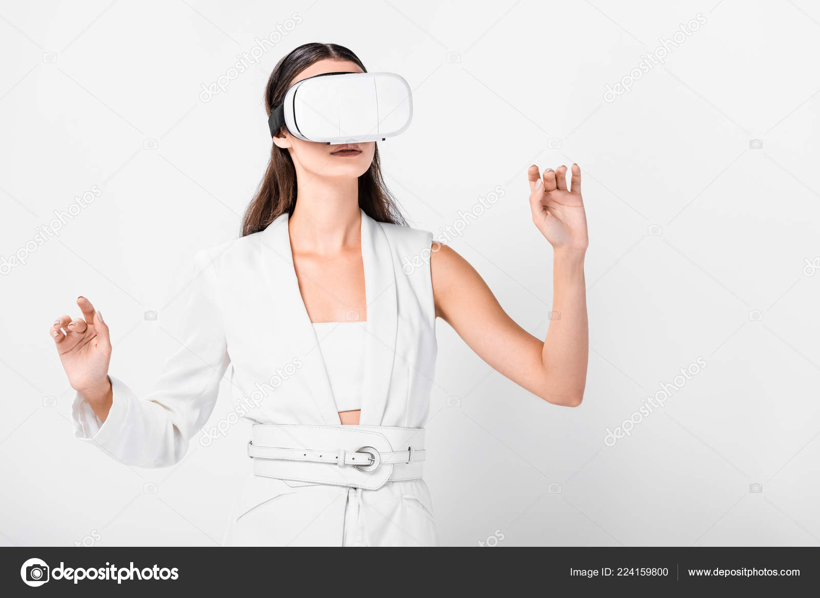 Close Adult Woman Gesturing Virtual Reality Headset Isolated White — Stock  Photo