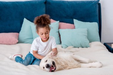 Adorable little african american kid petting happy dog while sitting on bed
