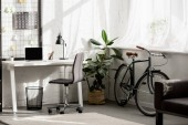 Photo interior of home office with workplace in modern style