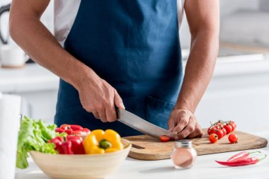 partial view of man cutting cherry tomatoes on chopping board