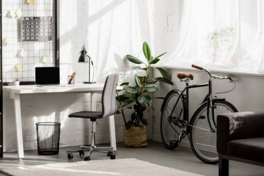interior of home office with workplace in modern style