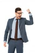 Fényképek boldog üzletember, szemüveg, örvendezve, és intett, hogy elszigetelt fehér