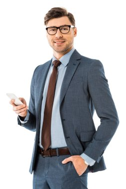 adult businessman using smartphone isolated on white