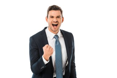 adult happy businessman shouting and rejoicing isolated on white