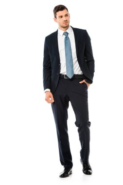 serious handsome businessman in suit standing isolated on white