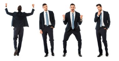Collage of businessman showing different reactions isolated on white stock vector