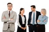 successful businessman with crossed arms standing with professional colleagues isolated on white