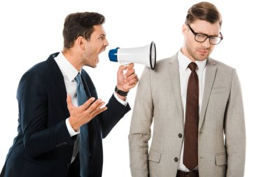 Aggressive boss yelling with megaphone at upset employee isolated on white stock vector