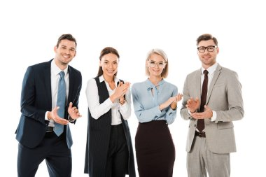 successful smiling business team celebrating and applauding isolated on white