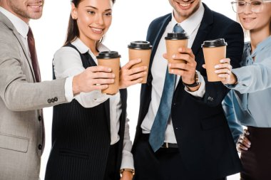 business people having coffee break isolated on white