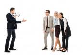 Fotografia responsabili di business leader in ascolto con il megafono isolato su bianco