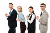 professional successful business team holding fists isolated on white