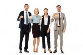 Executive business csapat gazdaság elszigetelt fehér üres névjegykártyák