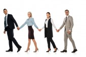 úspěšný obchodní tým drží ruce a chůzi dopředu izolované na bílém