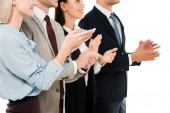 Fotografie cropped view of successful applauding business team isolated on white