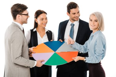 Corporate managers holding colorful chart and showing thumb up isolated on white stock vector