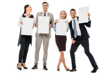 Cheerful businesspeople holding empty boards isolated on white stock vector
