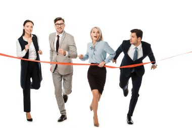 businesspeople reaching finishing line isolated on white