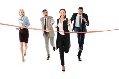 competitive businesspeople running to finishing line isolated on white