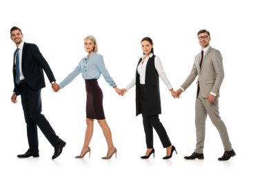 Successful business team holding hands and walking ahead isolated on white stock vector