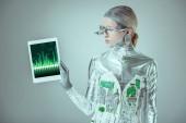 látszó-on tabletta-szürke, jövőbeni technológia koncepció elszigetelt diagram a készülék ezüst robot
