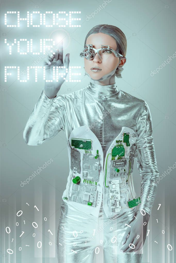 Young cyborg touching