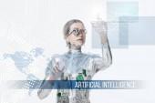 Fényképek ezüst kiborg a szem protézis megható digitális adatok elszigetelt fehér, jövőbeni technológia koncepció a mesterséges intelligencia felirat