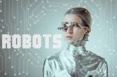 futuristické stříbrné cyborg pohledu daleko, samostatný Grey s roboti nápisy a digitálních dat