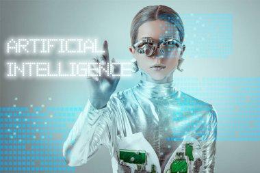 futuristic silver cyborg touching