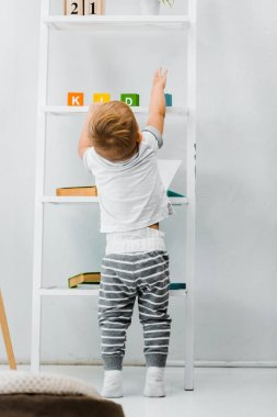 cute toddler boy standing near rack and reaching for toys on shelves