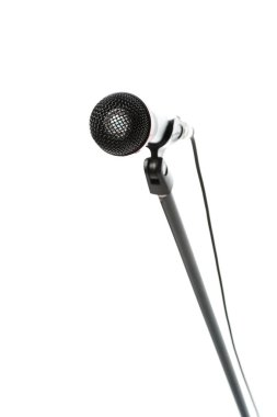 close up view of electric microphone isolated on white