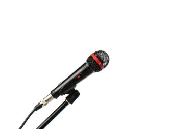 Close up view of electric microphone isolated on white stock vector