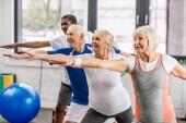 Fotografie Seitenansicht der multiethnischen Senioren beim Synchronturnen in der Sporthalle