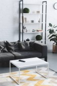Fotografie modern living room interior with cozy sofa, table and bookshelves
